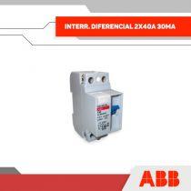 INTERR. DIFERENCIAL 2X40A 30MA 230V 2MOD RIEL DIN - GRUPO YLLACONZA