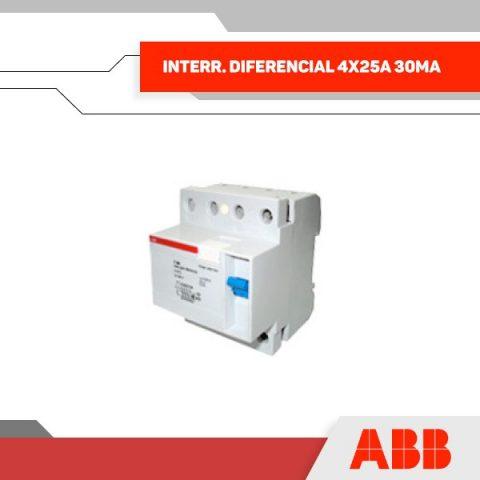 INTERR. DIFERENCIAL 4X25A 30MA 400V 4MOD RIEL DIN - GRUPO YLLACONZA